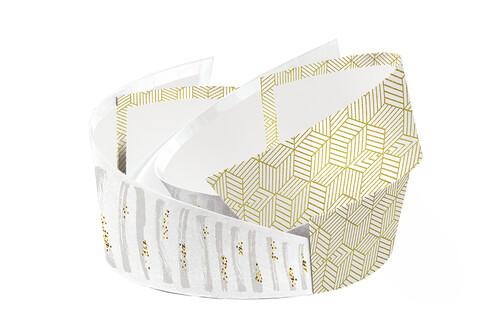 Image du produit Corbeille Helsinki carton rigide blanc/or/gris ovale asymétrique 28x22x7/12cm