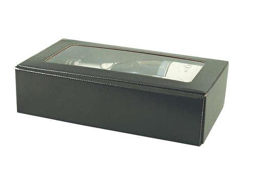 Image du produit Coffret Berne carton aspect croco noir avec vitrine 2 bouteilles