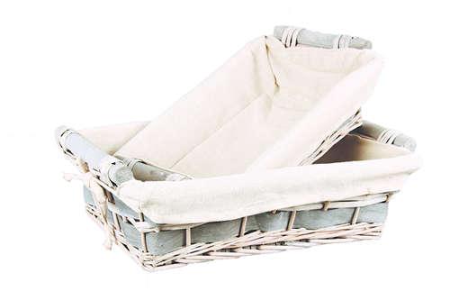 Image du produit Corbeille Jade osier/bois déroulé anthracite tissu beige rectangle 33x23x9cm