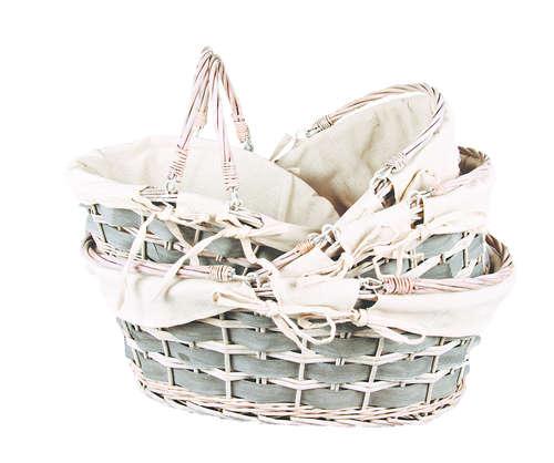 Image du produit Panier Jade osier/bois déroulé anthracite tissu beige ovale 54x40x16/20cm
