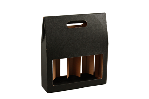 Image du produit Valisette Buffalo carton kraft brun noir 4 bières 33cl (type long neck) - FSC 7