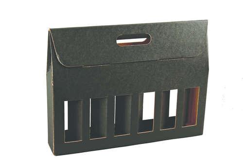 Image du produit Valisette Buffalo carton kraft brun noir 6 bières 33cl (type long neck) - FSC 7