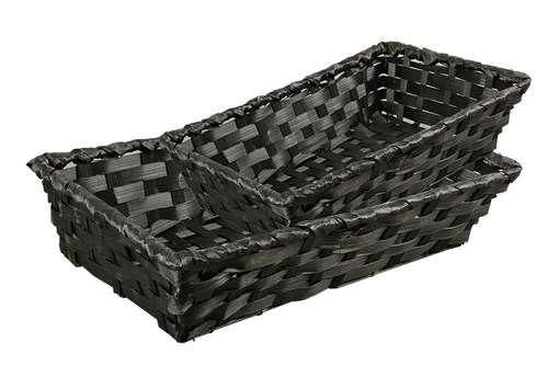 Image du produit Corbeille Rihana bambou noir rectangle 31x21x7cm