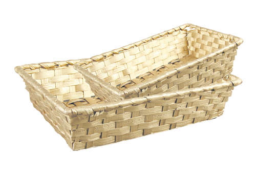 Image du produit Corbeille Rihana bambou or rectangle 36x26.5x7.5cm