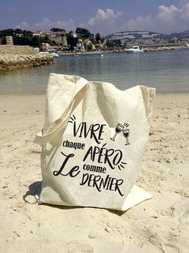 Image du produit Sac tote bag Chelsea toile coton écru - Vivre chaque apéro...