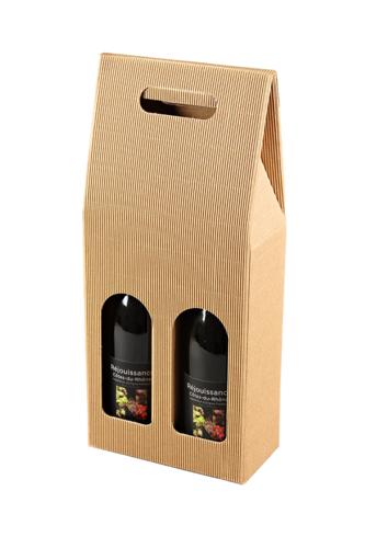 Image du produit Valisette Rome carton kraft cannelure 2 bouteilles