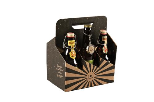 Image du produit Valisette panier San Diego carton noir/kraft 6 bières 33/50cl