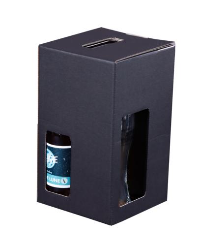 Image du produit Valisette Buffalo carton kraft brun noir 3 bières 33/50cl + 1 verre