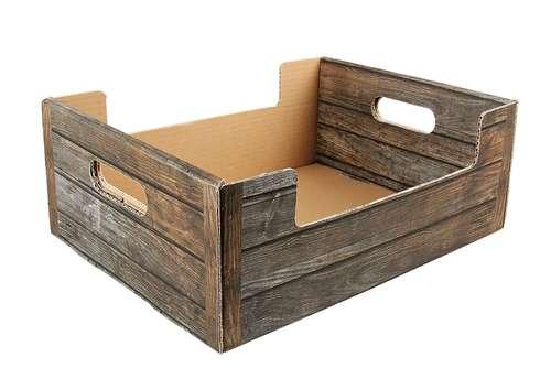 Image du produit Cagette Odessa carton imitation bois 37.5x29x14.5cm