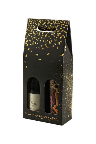 Image du produit Valisette Petra carton noir/or 2 bouteilles
