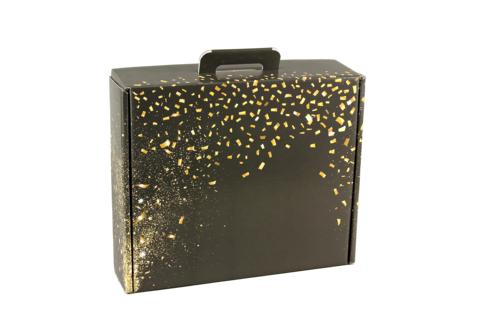 Image du produit Valisette gourmande Petra carton noir/or 34.5x25.5x11.5cm