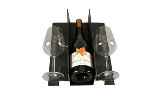 Image du produit Calage Napoli carton kraft noir pour coffret 3 bouteilles