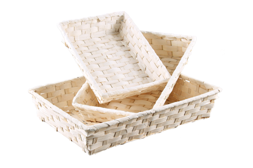 Image du produit Corbeille Rihana bambou blanc rectangle 36x26.5x7.5cm