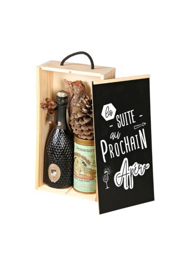 Image du produit Coffret Leandre bois de pin 2 bouteilles - La suite au prochain apéro