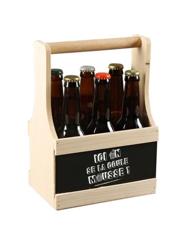 Image du produit Panier Némo bois de sapin 6 bières 33cl (type long neck) - Ici on se la coule...