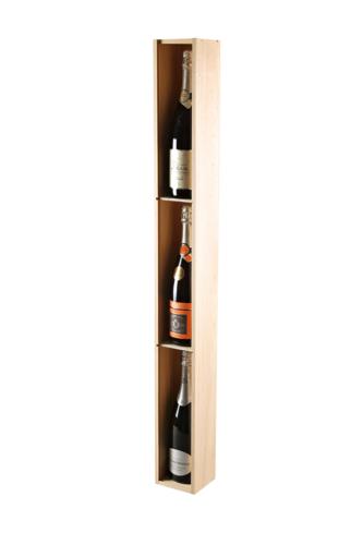 Image du produit Caisse Mètre Tradition bois de pin naturel 3 bouteilles