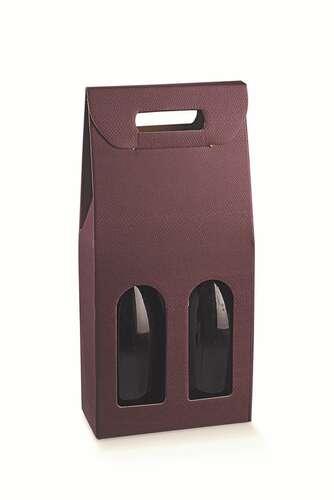 Image du produit Valisette Riga carton aspect cuir lie de vin 2 bouteilles fenêtres