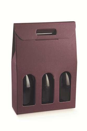 Image du produit Valisette Riga carton aspect cuir lie de vin 3 bouteilles fenêtres