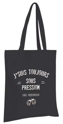 Image du produit Sac tote bag Chelsea toile coton noir - J'suis toujours sous pression