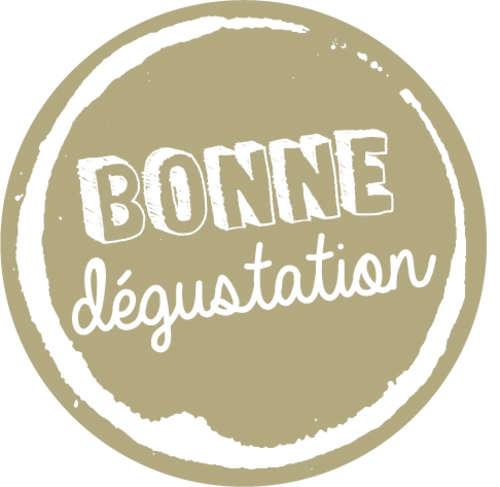 Image du produit Etiquette adhésive ronde or/blanc - Bonne dégustation (boîte de 500)