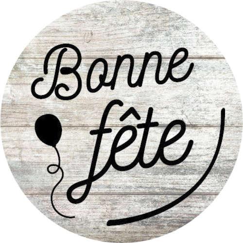 Image du produit Etiquette adhésive ronde Bois/noir - Bonne Fête (boîte de 500)