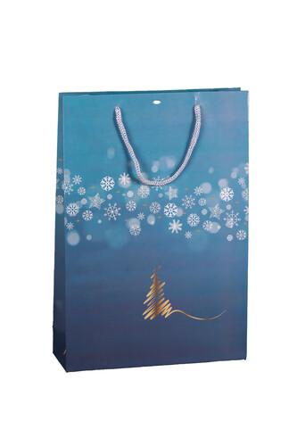 Image du produit Sac Alaska papier pelliculé brillant bleu bleu/or/argent/blanc 3 bouteille- FSC7