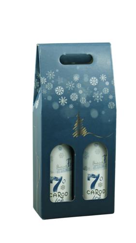 Image du produit Valisette Alaska carton bleu/or/argent/blanc 2 bouteilles