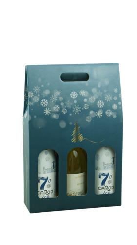 Image du produit Valisette Alaska carton bleu/or/argent/blanc 3 bouteilles