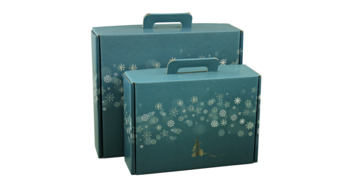 Image du produit Valisette gourmande Alaska carton bleu/or/argent/blanc 42x35.5x12cm