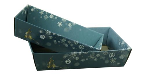 Image du produit Corbeille Alaska carton bleu/or/argent/blanc rectangle 34x21x8cm
