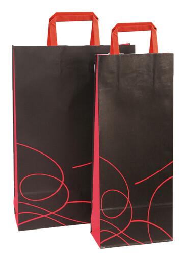 Image du produit Sac Nuance papier kraft noir/rouge 1 ou 2 bouteilles