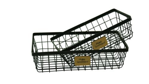 Image du produit Corbeille Julia métal noir rectangle 36x24x9cm