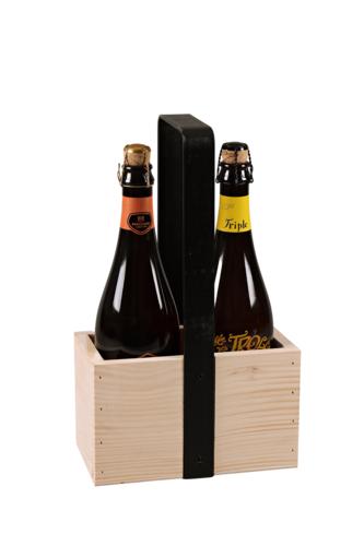 Image du produit Panier Hugo bois de sapin naturel 2 bouteilles