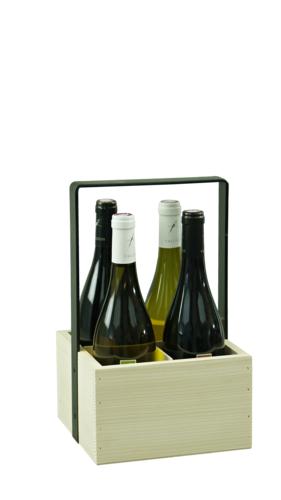 Image du produit Panier Hugo bois de sapin naturel 4 bouteilles