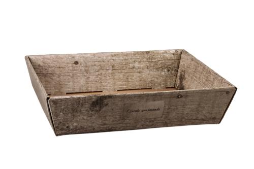 Image du produit Corbeille Lorriane carton imitation bois grisé 42x31x10cm