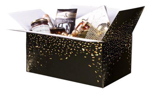 Image du produit Caisse gourmande Petra carton noir/or 33x22x15