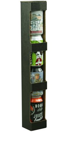 Image du produit Etui Buffalo carton kraft brun lisse noir 4x33cl ou 3x44cl (type canette)