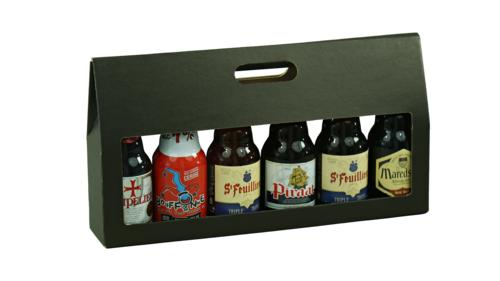 Image du produit Valisette Buffalo carton kraft brun noir 6 bières 33cl (Steinie/canette)