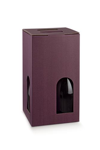 Image du produit Valisette Riga carton aspect cuir lie de vin 4 bouteilles fenêtres