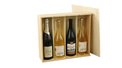 Image du produit Caisse Tradition bois naturel 4 bouteilles (1x4) - PEFC7