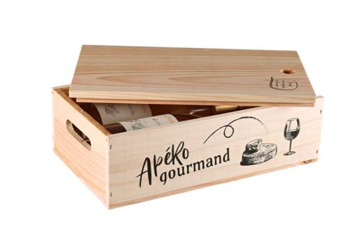 Image du produit Caisse Gaston bois de pin 2 bouteilles - Apéro Gourmand - PEFC7