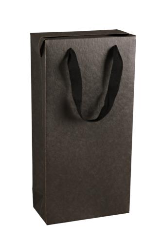 Image du produit Sac boite Chicago kraft noir mat 2 bouteilles - FSC7