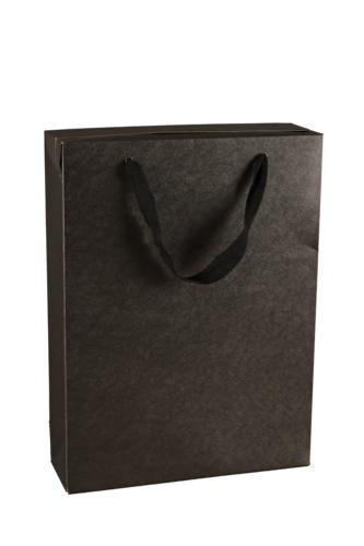 Image du produit Sac boite Chicago kraft noir mat 3 bouteilles - FSC7