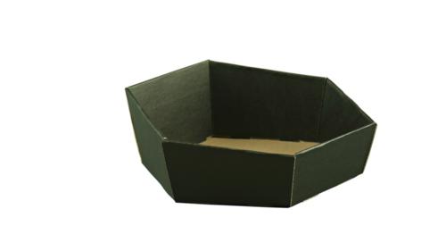 Image du produit Corbeille Chicago carton kraft noir lisse hexagonale asymétrique 27x24x6/9cm