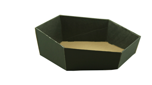 Image du produit Corbeille Chicago carton kraft noir lisse hexagonale asymétrique 44x38x8/12cm
