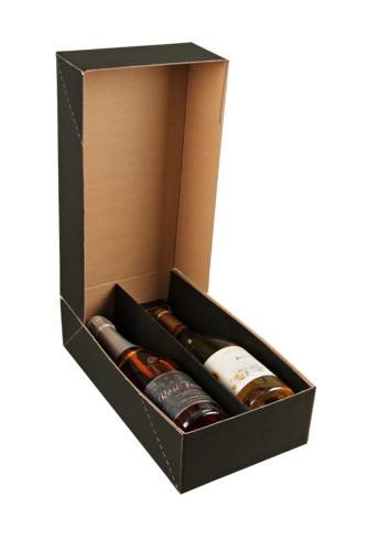 Image du produit Coffret Chicago carton kraft lisse noir 2 bouteilles