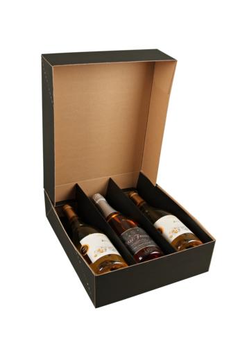 Image du produit Coffret Chicago carton kraft lisse noir 3 bouteilles