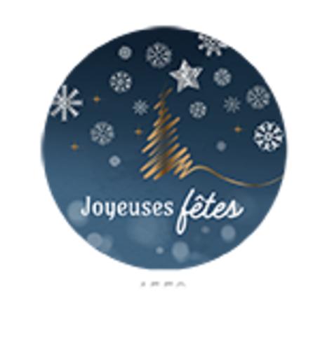 Image du produit Etiquette adhésive Alaska ronde bleu/blanc/or - Joyeuses Fêtes (boîte de 500)