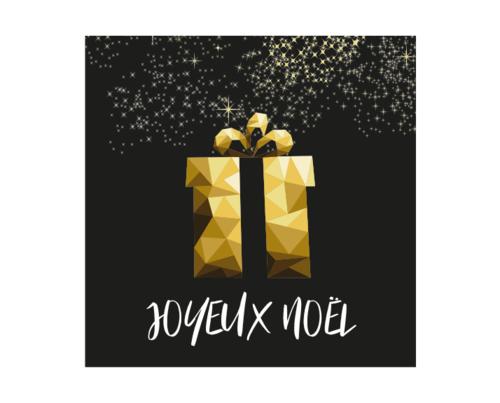 Image du produit Etiquette adhésive carrée noir/or - Joyeux Noël (boîte de 500)