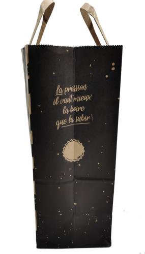 Image du produit Sac San Diego papier kraft brun/noir 6 bières 20x11x28cm. poignées plates
